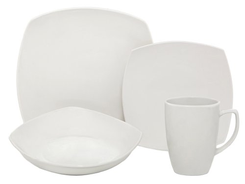 Melange Square Porcelain 16-Piece Place Setting, White, Service for 4 (Porcelain Service For 12 compare prices)