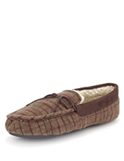 Faux Fur Checked Moccasin Slippers