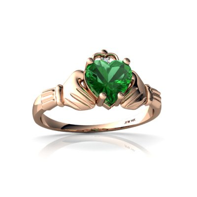 Created Emerald 14ct Rose Gold Celtic Claddagh Ring