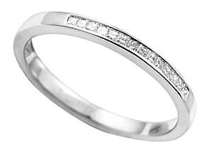finediamondsrus 9 Carat White Gold Real Princess Cut Diamonds Half Eternity Wedding Ring Band