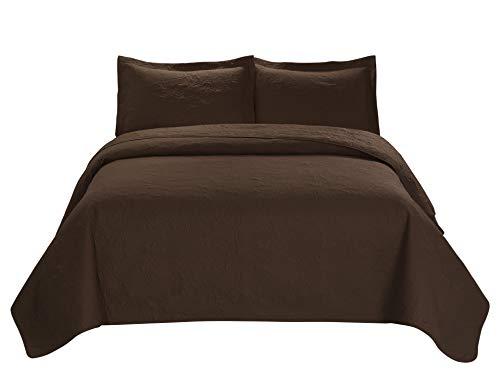 3 Piece MIKANOS Ultrasonic Embossed Bedspread Set-Oversized Coverlet 100x106in, 118x106in (Queen, Chocolate) Queen