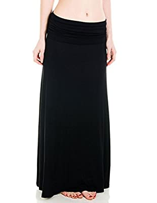 FashionMark Womens Super Soft Fold Over Maxi Skirt