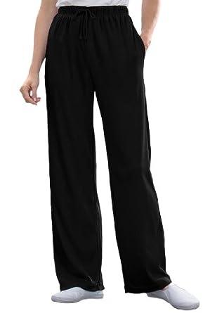 Women's Plus Size Petite pants in sports knit (BLACK,S)