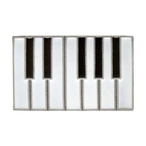 Piano Keys Keyboard Belt Buckle Chrome, Black & White Enamel