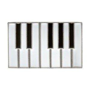 Piano Keys Keyboard Belt Buckle Chrome, Black & White Enamel