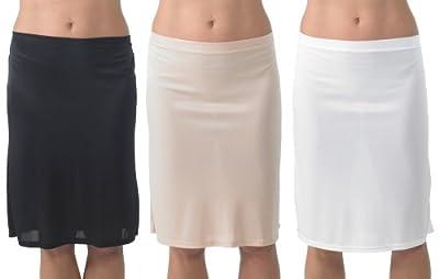 2er-Pack Frauen/Damen Unterwäsche, 100% Polyester, Slip Unterrock mit seitlichem Schlitz, 23,5'' Länge, verschiedene Farben & Größen