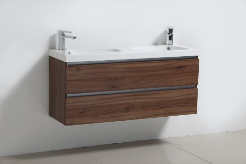 Luxo Marbre Relax V47 W Relax Vanity With Synthetic Marble Sink Walnut Furniture Cabinets