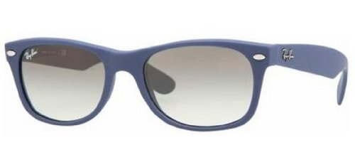 Ray Ban New Wayfarer Sunglasses RB2132 811 32 Light Blue Rubber Crystal  Grey Gradient 52mm 1ba113838e