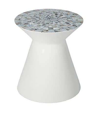 Home Philosophy Abalone Hand Lacquered Side Table, White/Multi