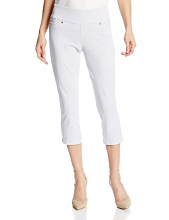 Liverpool Jeans Company Women's Sienna Twill Pull-On Capri, White, 2