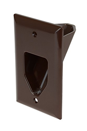 DataComm Electronics 45-0001-BR 1-Gang Recessed Low Voltage Cable Plate, Brown