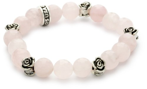 King Baby 10Mm Rose Quartz Bead Bracelet With Roses front-176706