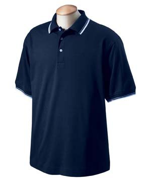 Devon & Jones Mens Tipped Perfect Pima Interlock Polo - WHITE/NAVY - S