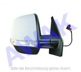 Fiat Doblo II 10- Aussenspiegel (rechts=Beifahrerseite) el.betätigt, beheizbar, Gehäuse-grundiert, mit Blinker und Temperaturfühler, twin Glas-convex [E] [H] [P] [CV] [LMP] [S] [R]