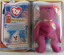1 X TY Teenie Beanie Babies Millennium Teddy Bear Stuffed Animal Plush Toy - 1