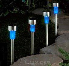 4 X Blue Solar Garden Light Led Stainless Steel Mini