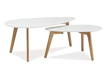 Couchtisch Beistelltisch MALUF II Wohnzimmertisch im 2er Set in Weiß Matt 100 x 50 x 40 cm und 70 x 35 x 35 cm skandinavisches Design Retro