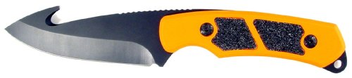 RUKO 3-1/4-Inch Blade Gut Hook Skinning Knife with Orange Blaze Handle and Nylon Sheath