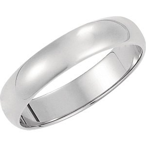 10K White Gold Half Round Light Wedding Band: 4mm - Size 7