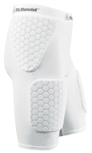 McDavid Women's Hexpad Thudd Short with Hexpad Thigh Guard Sewn In (White, Extra Large)