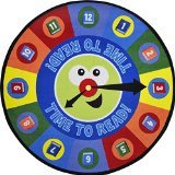 """Joy Carpets Kid Essentials Language & Literacy Round Time to Read Rug, Multicolored, 13'2"""""""