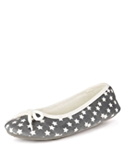 Star Print Ballerina Slippers