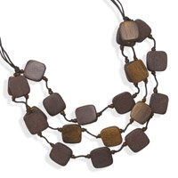 Graduated Wood Bead Fashion Necklace