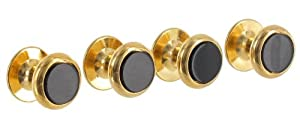 Mens Shirt Studs Circle Round Black Onyx Gold Plated Fixed