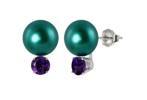 Sterling Silver 10-10.5mm Freshwater Cultured Teal Blue Button Pearl Stud Earrings Accented with 5mm Amethyst