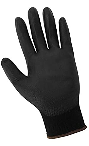 Global Glove PUG-17 - Lightweight Seamless General Purpose PU Dipped Glove - Large - (Case of 144) (Color: Black, Tamaño: Large)