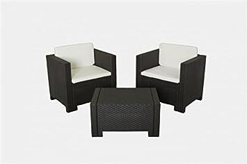 Conjunto sillones de terraza ACACIA, 1+1+mesa, poliratán chocolate, cojínes incluido