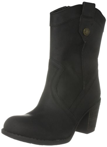 Hush Puppies Women's Fieldfare Black Waxy Leather Cowboy Boots H25309003 3 UK