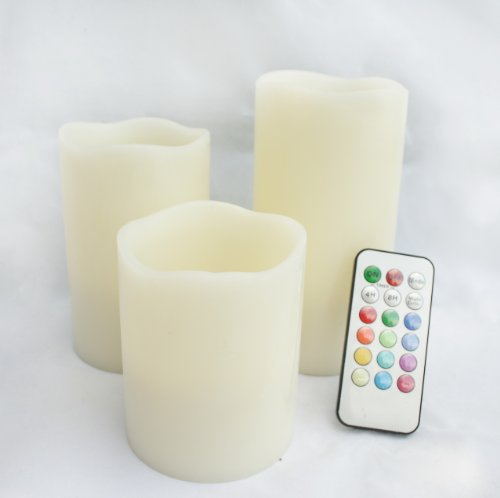 Candle Choice Set Of 3 3.1'' Paraffin Wax Melt Edge Round Pillar Flameless Multi-Color Led Candle With Remote