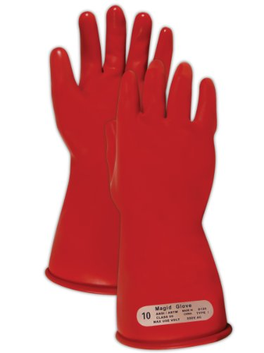 "Magid M00 A.R.C. Natural Latex Rubber Class 00 Insulating Glove With Straight Cuff, Work, 11"" Length, Size 8, Red"