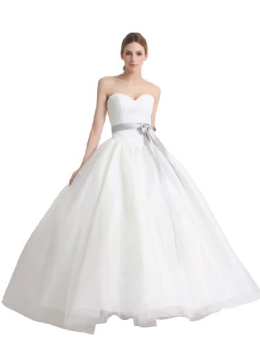 Artwedding Sweetheart Tulle over Satin Bridal Ball Gown with Lace Bodice and Bowknot,Ivory
