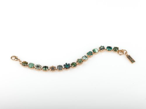 'Green' Collection 24K Rose Gold Plated Bracelet Beautifully Created by Amaro Jewelry Studio with Flower and Heart Details, Enriched with Abalone, Aventurine, Jadeite, Gaspeite, Variscite, African Turquoise, Green Moonstone and Swarovski Crystals