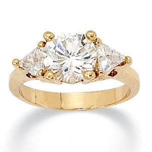 14k Gold-Plated Round and Trilliant-Cut DiamonUltra™ Cubic Zirconia Anniversary Ring