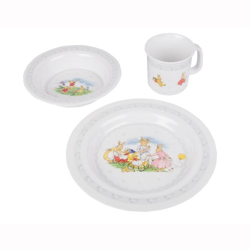 Royal Doulton's Bunnykins 3 Piece Dinner Set (Silver) - baby's dinner/feeding set with plate, cup & bowl