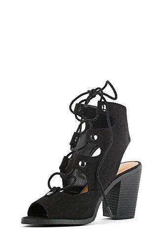 Soda Race Women's Stylish Lace Up Gladiator Cage Low Chunky Block Heel Sandal - Black Imitation Suede,Black,8.5 (Gladiator Sandals Soda compare prices)