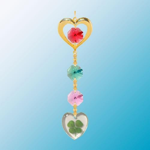 24K Gold Plated Hanging Sun Catcher or Ornament..... Heart Icon Hanging Charm With Heart Shaped Four Leaf Clover & Red Swarovski Austrian Crystals - 1