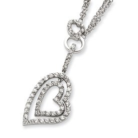 Sterling Silver Double Heart CZ Necklace - 16 Inch - Spring Ring - JewelryWeb