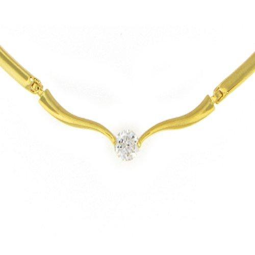 50 Mils 24k Gold Bonded Cubic Zirconia Elegant Link Solitaire Necklace