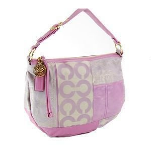 Coach Ali Patchwork Pieced Signature Hobo Shoulder Bag Purse Lilac