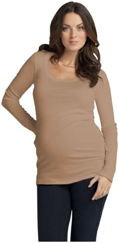 Ingrid & Isabel Long Sleeve Scoop Neck Tee - Chestnut-X-Small front-600287