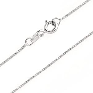 Bling Jewelry 0.8mm Very Thin Sterling Silver Italian Box Chain Necklace