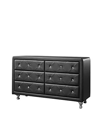 Baxton Studio Luminescence Wood Contemporary Upholstered Dresser, Black As You See