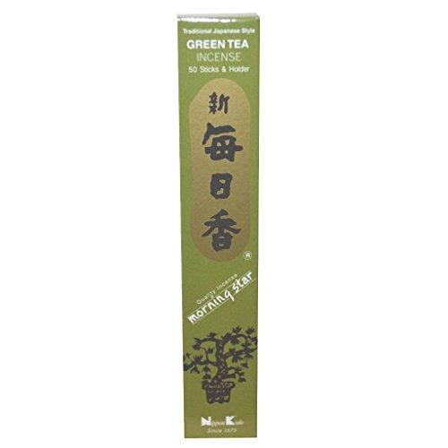 Té verde de alta calidad de incienso con diseño de estrella de Nippon Kodo - varillas de incienso 50 + soporte