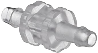 "Value Plastics N004-9 Straight Through Tube Fitting with 500 Series Barbs, 1/16"" (1.6 mm) ID Tubing, Clear Polycarbonate (25-Pack)"