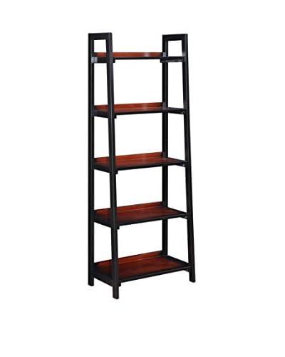 Linon Home Décor Camden 5-Shelf Bookcase, Black Cherry
