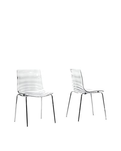 Baxton Studio Set of 2 Marisse Dining Chairs, Clear